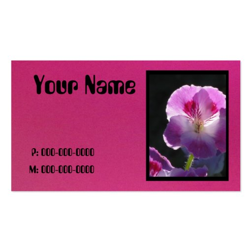 Pink Flower Black Text Business Cards