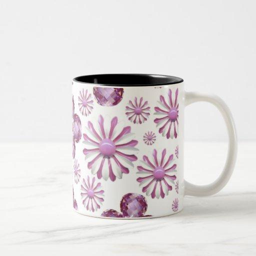 PINK FLOWER BLING COFFEE CUP Two-Tone COFFEE MUG