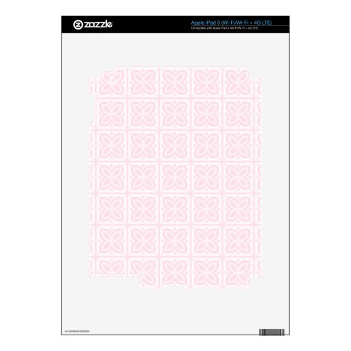 Pink Flower Block Pattern Decal For iPad 3