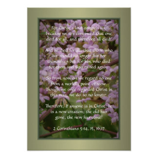 Pink Flower Blooms ~ 2 Corinthians 5:14_17 Posters