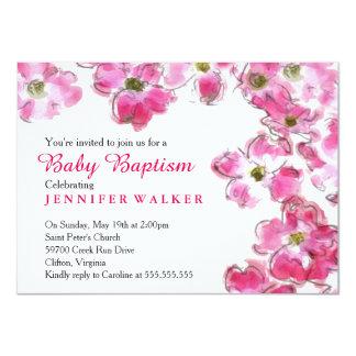Pink Flower Blossoms Baby Baptism Dedication Card