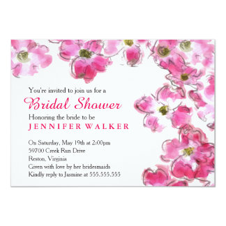 Pink Flower Blossoms Bridal Wedding Shower Party 4.5x6.25 Paper Invitation Card