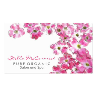 Pink Flower Blossoms Spa Beauty Salon Business Card