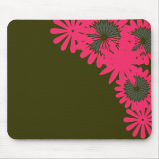 Pink flower boarder mouse pad