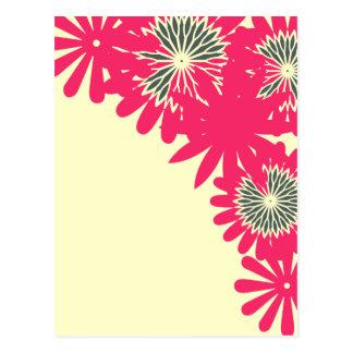 Pink flower boarder postcard