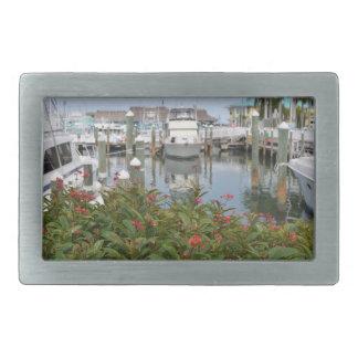 pink flower boats marina florida scene belt buckle