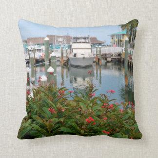 pink flower boats marina florida scene throw pillow