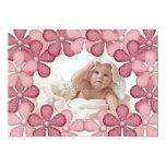 "Pink Flower Border Photo Card 5"" X 7"" Invitation Card"