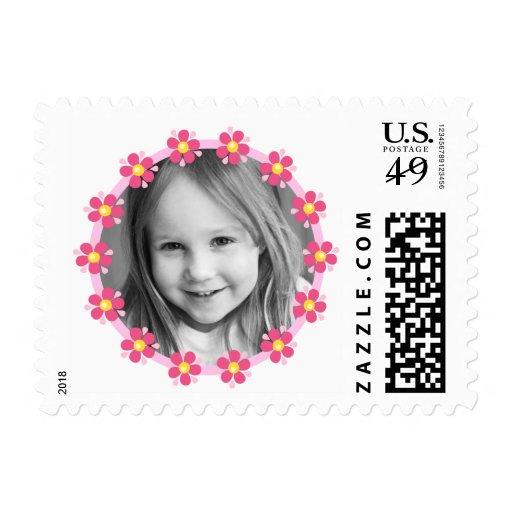 Pink flower border photo frame custom photograph postage