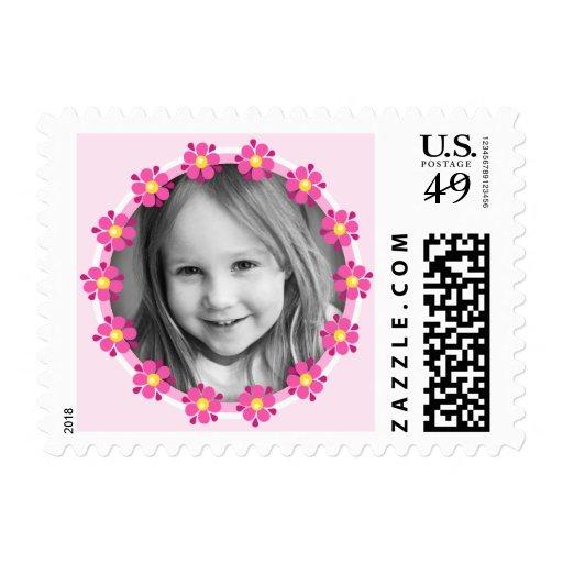 Pink flower border photo frame custom photograph stamps