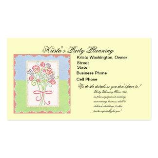 Pink Flower Bouquet Wedding Planner Card Business Card
