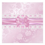 Pink Flower & Bow Sweet 16 Invite