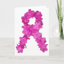 Pink Flower Breast Cancer Awareness Ribbon Card