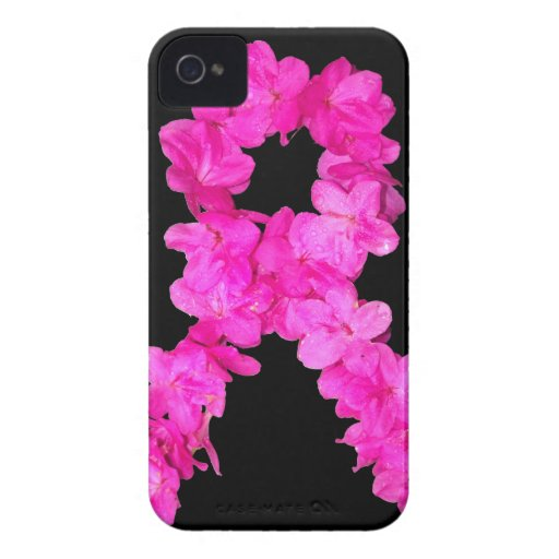 Pink Flower Breast Cancer Awareness Ribbon Case-Mate iPhone 4 Cases
