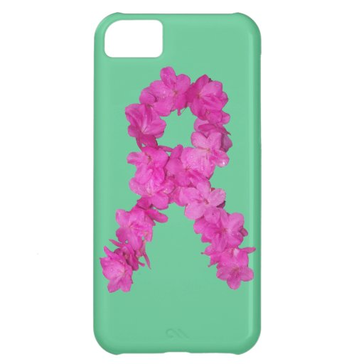 Pink Flower Breast Cancer Awareness Ribbon iPhone 5C Cases