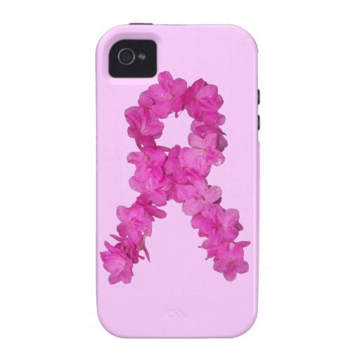 Pink Flower Breast Cancer Awareness Ribbon iPhone 4/4S Cover