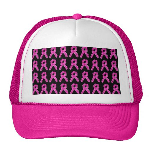 Pink Flower Breast Cancer Awareness Ribbon Pattern Trucker Hat