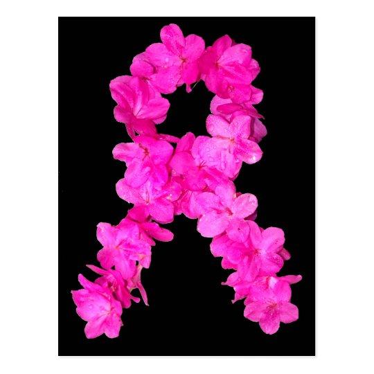 Pink Flower Breast Cancer Awareness Ribbon Postcard