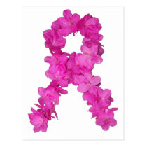 Pink Flower Breast Cancer Awareness Ribbon Postcard