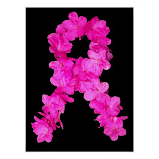 Pink Flower Breast Cancer Awareness Ribbon Poster