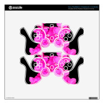 Pink Flower Breast Cancer Awareness Ribbon PS3 Controller Decal