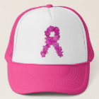 Pink Flower Breast Cancer Awareness Ribbon Trucker Hat