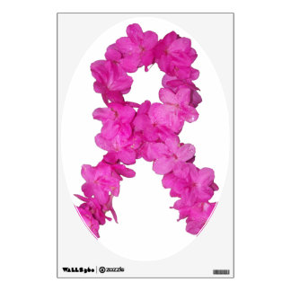 Pink Flower Breast Cancer Awareness Ribbon Wall Decal