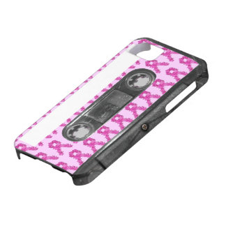 Pink Flower Breast Cancer Ribbon Cassette iPhone 5 Case