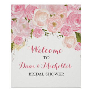 pink flower bridal shower SIGN