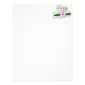 Pink Flower Bride Custom Letterhead