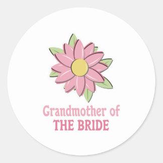 Pink Flower Bride Grandmother Classic Round Sticker