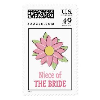 Pink Flower Bride Niece Stamps