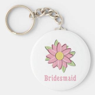 Pink Flower Bridesmaid Basic Round Button Keychain