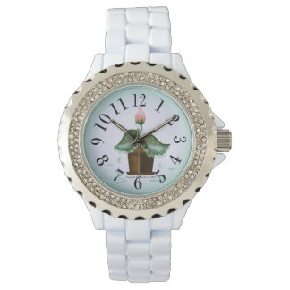 Pink Flower Bud Water Droplets White Enamel Watch