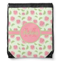 Pink Flower Buds and Leaves Monogrammed Drawstring Bag