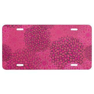 Pink Flower Burst Design License Plate