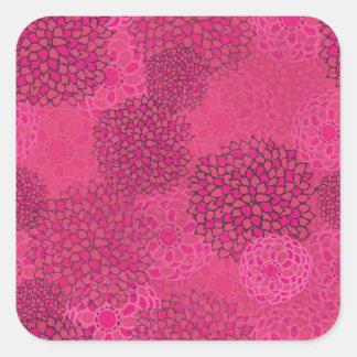Pink Flower Burst Design Square Sticker