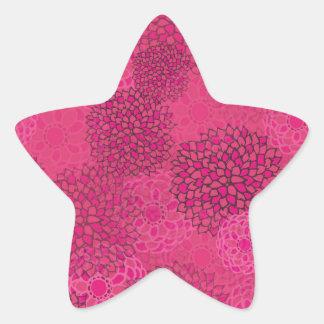 Pink Flower Burst Design Star Sticker