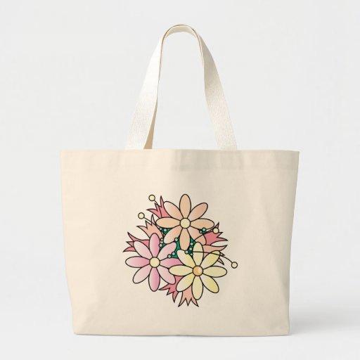 Pink Flower Burst Tote Bags