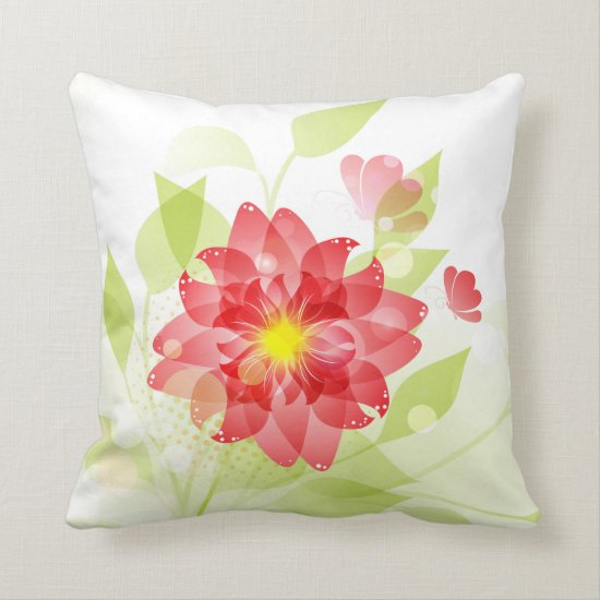Pink Flower Butterfly Pale Green Leaves Pillow