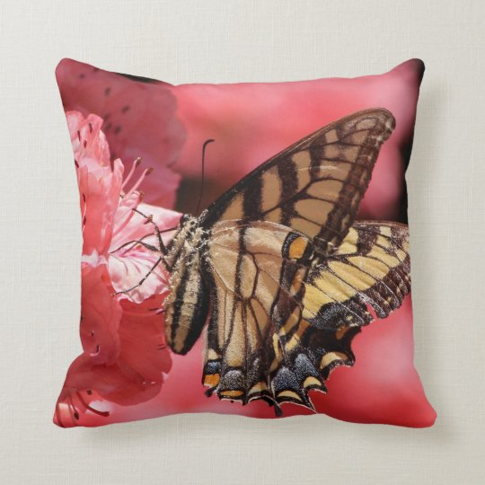 Pink Flower Butterfly Pillow