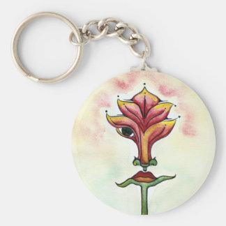 Pink Flower Button Keychain