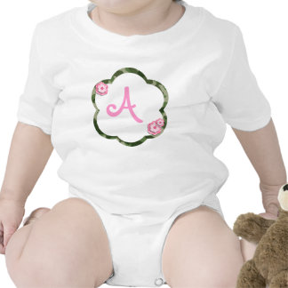 Pink Flower Camo Infant Creeper, White Baby Bodysuits