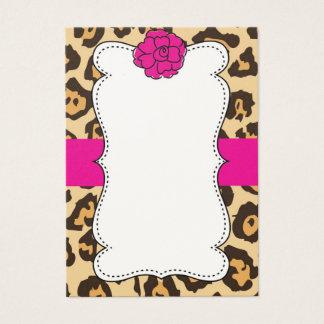 Pink Flower Cheetah Print Business Card