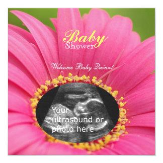 "Pink ""Flower Child"" Sonogram Shower Invite-square Card"