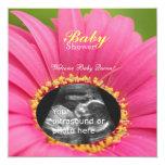 "Pink ""Flower Child"" Sonogram Shower Invite-square 5.25x5.25 Square Paper Invitation Card"