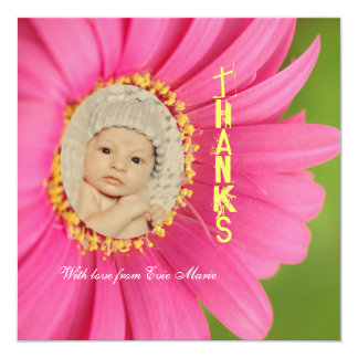 """Pink """"Flower Child"""" Thank You Birth Announcements"""