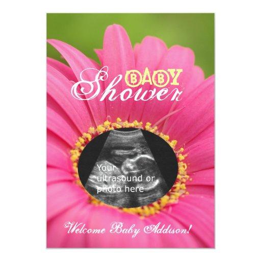"""Pink """"Flower Child"""" Ultrasound Baby Shower Invites"""