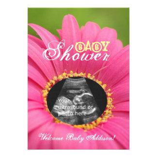 Pink Flower Child Ultrasound Baby Shower Invites