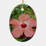 pink flower christmas ornament